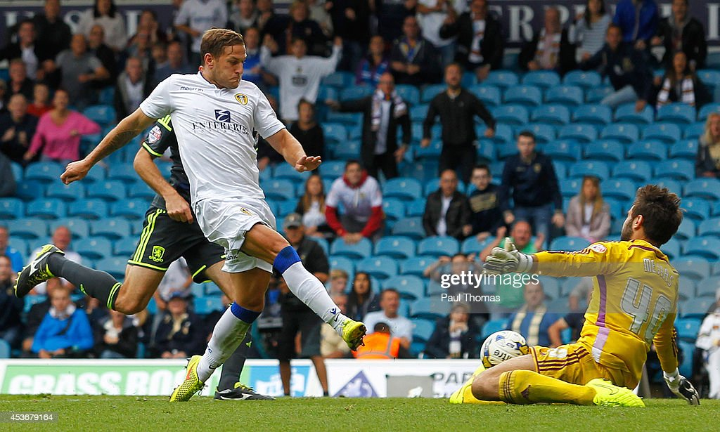 Billy Sharp of Leeds scores his sides first goal during the Sky Bet Championship match between Leeds United and Middlesbrough at Elland Road on August 16, 2014 in Leeds, England.