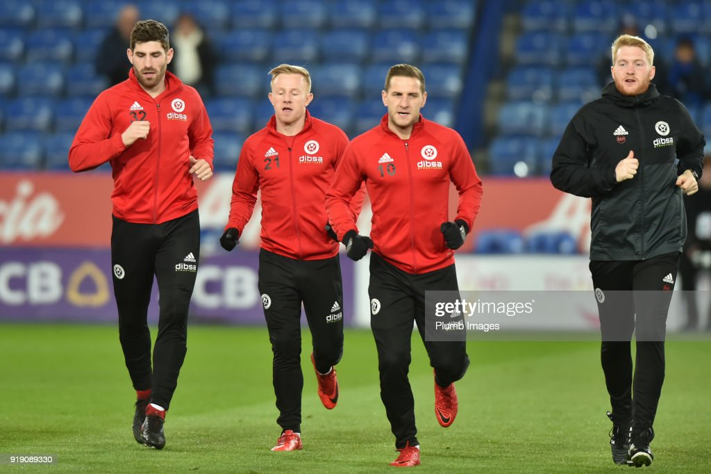 Billy Sharp of Sheffield United before the FA Cup Fifth round match between Leicester City and Sheffield United at The King Power Stadium on February 16th, 2018 in Leicester, United Kingdom