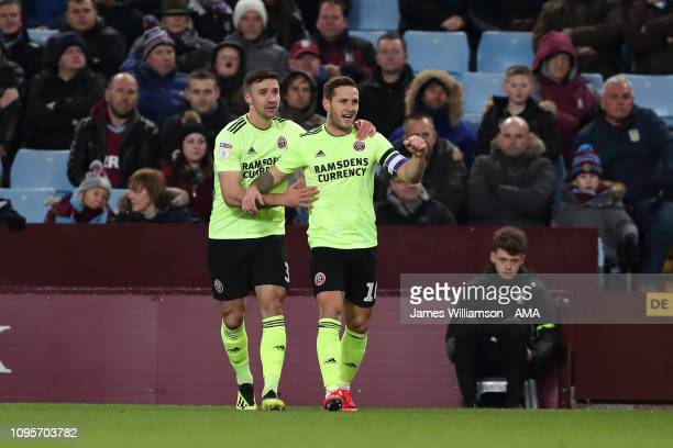 Billy Sharp of Sheffield United celebrates after scoring a goal to make it 10 during the Sky Bet Championship fixture between Aston Villa and...