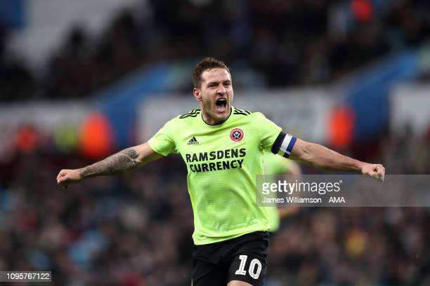 Billy Sharp of Sheffield United celebrates after scoring a goal to make it 30 during the Sky Bet Championship fixture between Aston Villa and...