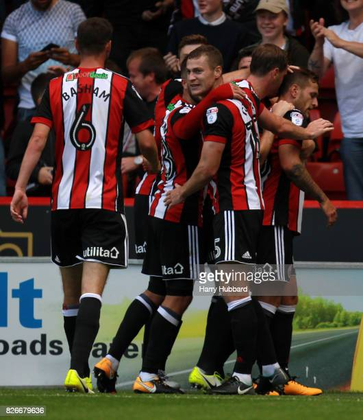 Billy Sharp of Sheffield United celebrates after scoring during the Sky Bet Championship match between Sheffield United and Brentford at Bramall Lane...
