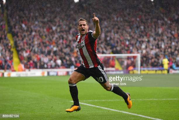 Billy Sharp of Sheffield United celebrates after scoring during the Sky Bet Championship match between Sheffield United and Barnsley at Bramall Lane...
