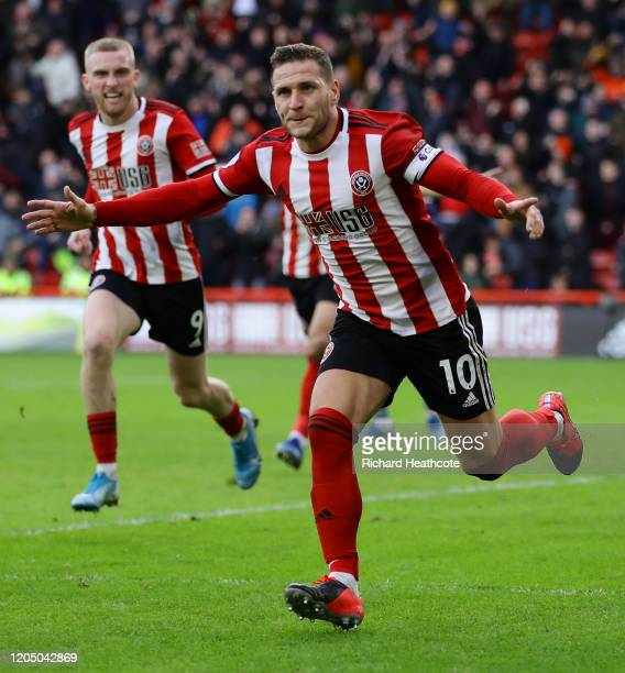 Billy Sharp of Sheffield United celebrates after scoring his team's first goal during the Premier League match between Sheffield United and AFC...