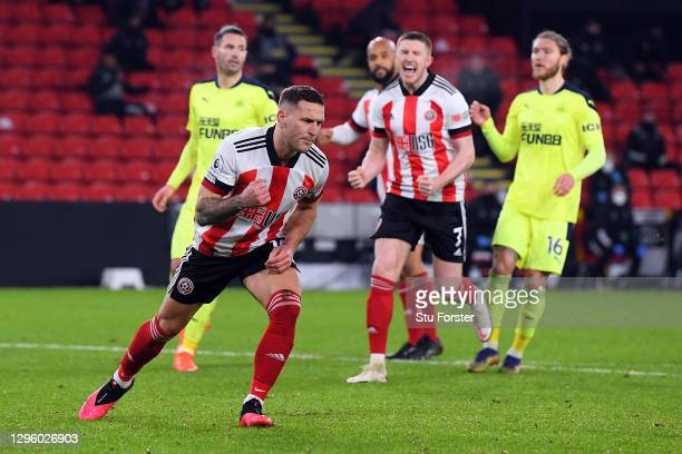 Billy Sharp of Sheffield United celebrates after scoring his team's first goal during the Premier League match between Sheffield United and Newcastle...