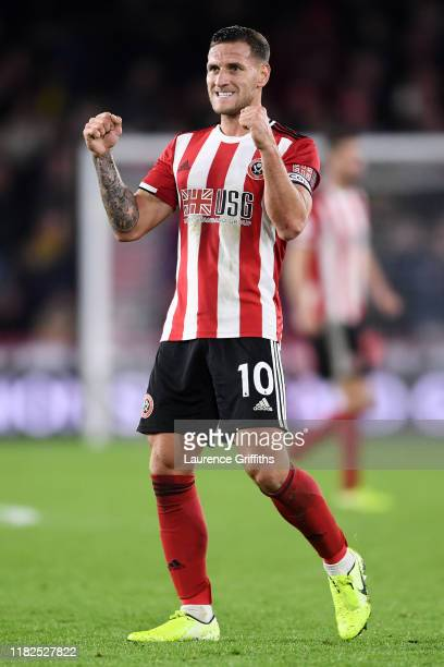 Billy Sharp of Sheffield United celebrates at the final whistle after his teams victory in the Premier League match between Sheffield United and...