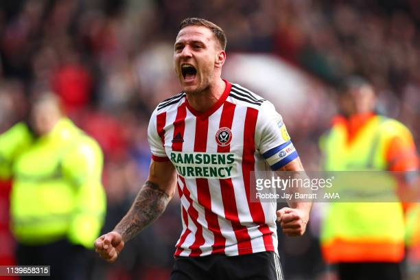 Billy Sharp of Sheffield United celebrates during the Sky Bet Championship match between Sheffield United and Ipswich Town at Bramall Lane on April...