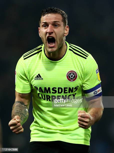 Billy Sharp of Sheffield United celebrates his teams win during the Sky Bet Championship match between West Bromwich Albion and Sheffield United at...