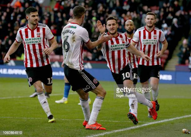 Billy Sharp of Sheffield United celebrates scoring during the Sky Bet Championship match between Sheffield United and Bolton Wanderers at Bramall...