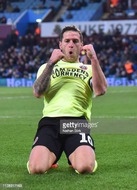 Billy Sharp of Sheffield United celebrates scoring his hat trick goal during the Sky Bet Championship match between Aston Villa and Sheffield United...