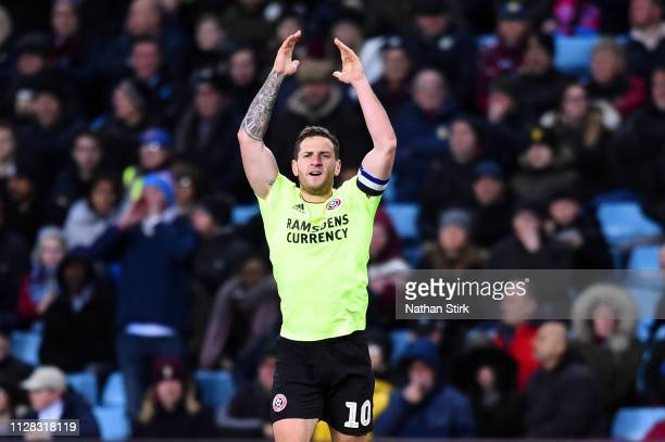 Billy Sharp of Sheffield United celebrates scoring his second goal during the Sky Bet Championship match between Aston Villa and Sheffield United at...