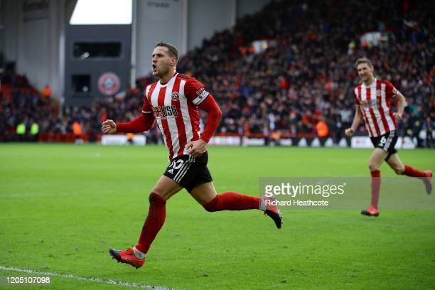 Billy Sharp of Sheffield United celebrates scoring his team's first goal during the Premier League match between Sheffield United and AFC Bournemouth...
