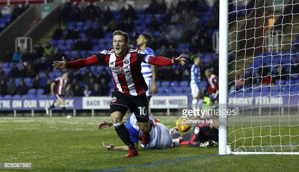 Billy Sharp of Sheffield United celebrates scoring the opening goal during the Sky Bet Championship match between Reading and Sheffield United at...