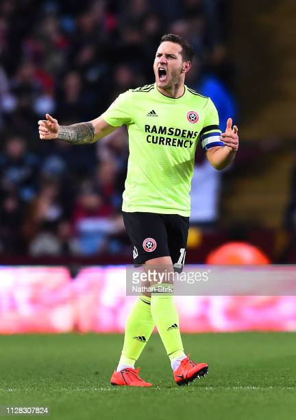 Billy Sharp of Sheffield United celebrates scoring to make it 10 during the Sky Bet Championship match between Aston Villa and Sheffield United at...
