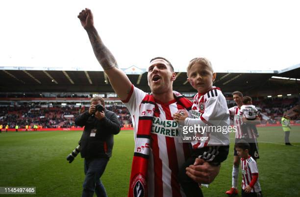 Billy Sharp of Sheffield United celebrates victory after the Sky Bet Championship match between Sheffield United and Ipswich Town at Bramall Lane on...