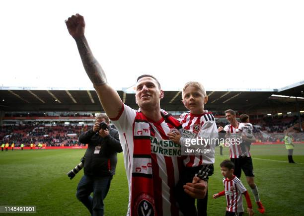 Billy Sharp of Sheffield United celebrates victory after the Skybet Championship match between Sheffield United and Ipswich Town at Bramall Lane on...