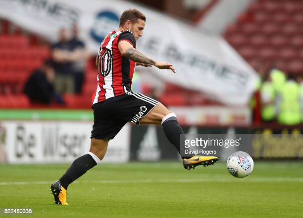 Billy Sharp of Sheffield United controls the ball to score the first goal during the pre season friendly match between Sheffield United and Stoke...