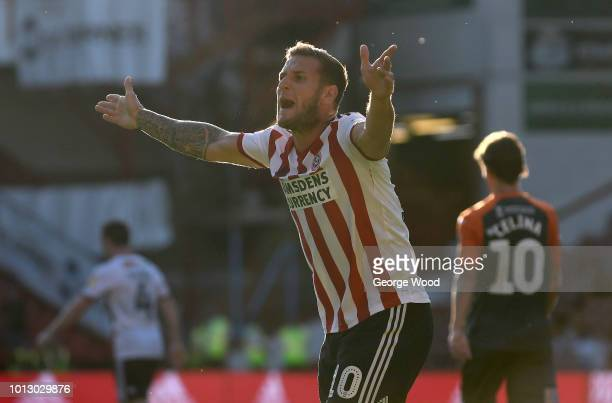 Billy Sharp of Sheffield United gestures during the Sky Bet Championship between Sheffield United and Swansea City at Bramall Lane on August 4 2018...