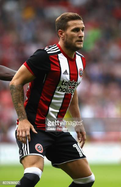 Billy Sharp of Sheffield United looks on during the pre season friendly match between Sheffield United and Stoke City at Bramall Lane on July 25 2017...