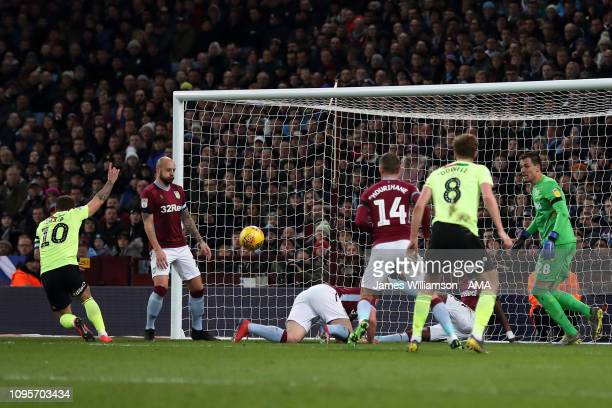 Billy Sharp of Sheffield United scores a goal to make it 10 during the Sky Bet Championship fixture between Aston Villa and Sheffield United at Villa...