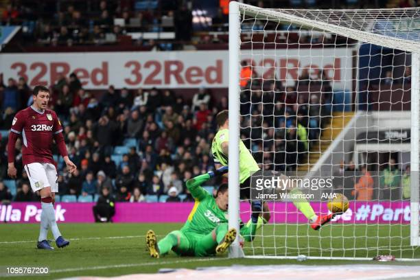 Billy Sharp of Sheffield United scores a goal to make it 20 during the Sky Bet Championship fixture between Aston Villa and Sheffield United at Villa...