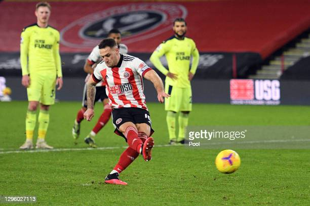 Billy Sharp of Sheffield United scores a penalty for his sides first goal during the Premier League match between Sheffield United and Newcastle...