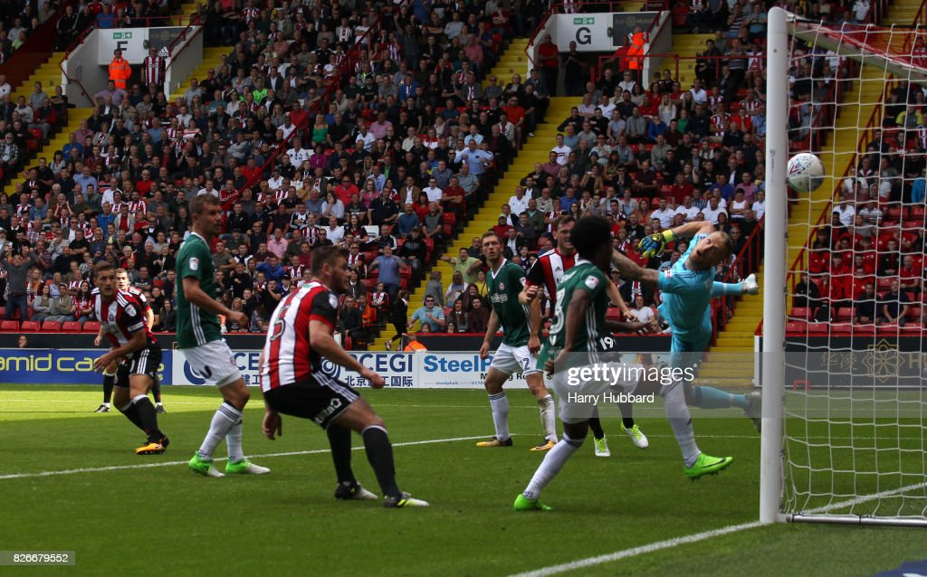 Billy Sharp of Sheffield United scores during the Sky Bet Championship match between Sheffield United and Brentford at Bramall Lane on August 5, 2017 in Sheffield, England.
