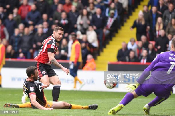 Billy Sharp of Sheffield United scores the second goal during the Sky Bet League One match between Sheffield United and Bradford City at Bramall Lane...