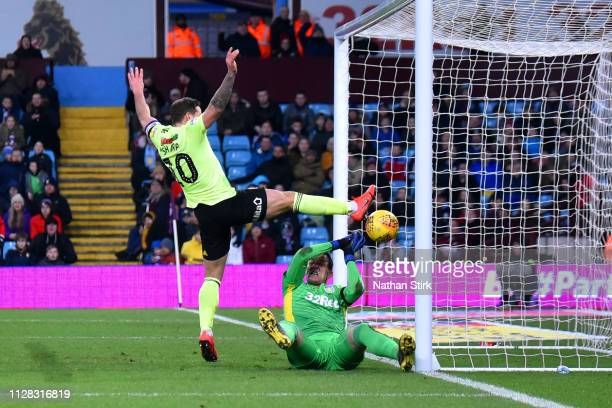 Billy Sharp of Sheffield United scores to make it 10 during the Sky Bet Championship match between Aston Villa and Sheffield United at Villa Park on...