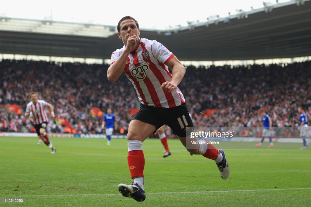Billy Sharp of Southampton celebrates scoring the opening goal during the npower Championship match between Southampton and Portsmouth at St Mary's Stadium on April 7, 2012 in Southampton, England.
