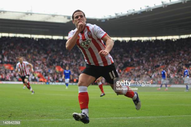 Billy Sharp of Southampton celebrates scoring the opening goal during the npower Championship match between Southampton and Portsmouth at St Mary's...