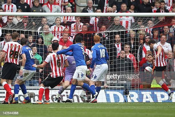 Billy Sharp of Southampton scores his second goal during the npower Championship match between Southampton and Portsmouth at St Mary's Stadium on...