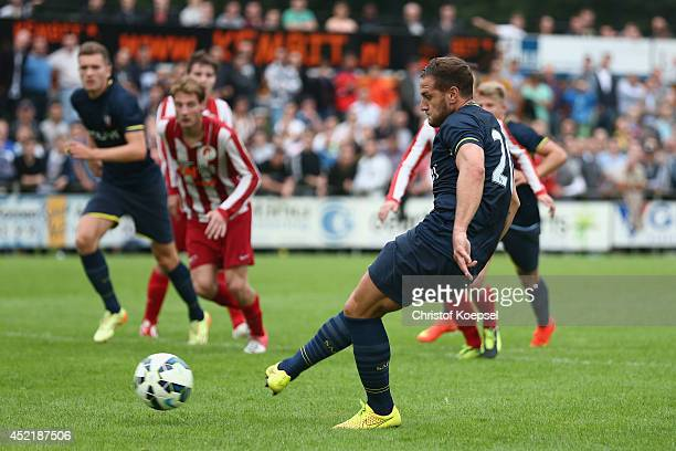 Billy Sharp of Southampton scores the third goal by penalty during the pre season friendly match between EHC Hoensbroek and Southampton at Sportpark...