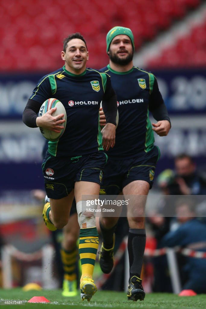 Billy Slater (L) alongside Nate Myles (R) during the Australia training session at Old Trafford on November 29, 2013 in Manchester, England.