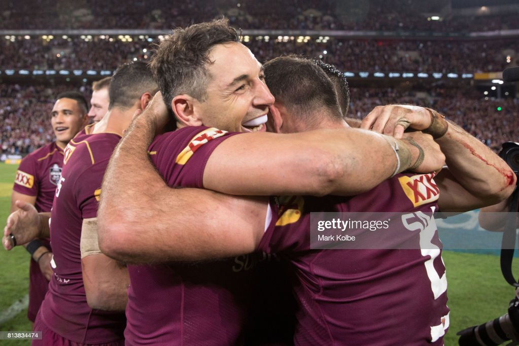 Billy Slater and Cameron Smith of the Maroons celebrate victory after game three of the State Of Origin series between the Queensland Maroons and the New South Wales Blues at Suncorp Stadium on July 12, 2017 in Brisbane, Australia.