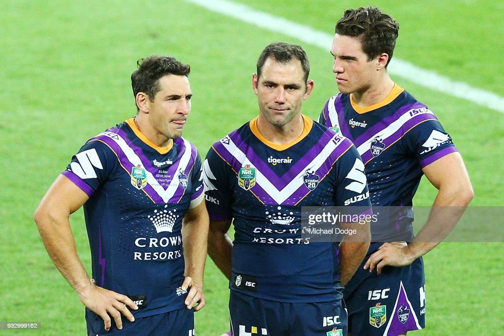 Billy Slater (L) and Cameron Smith of the Storm look dejected after losing in his 300th match during the round two NRL match between the Melbourne Storm and the Wests Tigers at AAMI Park on March 17, 2018 in Melbourne, Australia.