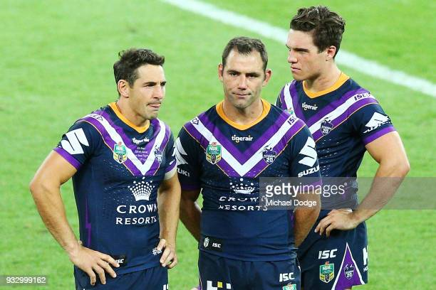 Billy Slater and Cameron Smith of the Storm look dejected after losing in his 300th match during the round two NRL match between the Melbourne Storm...