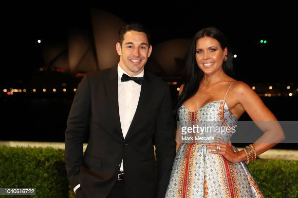 Billy Slater and his wife Nicole Slater arrive at the 2018 Dally M Awards at Overseas Passenger Terminal on September 26, 2018 in Sydney, Australia.