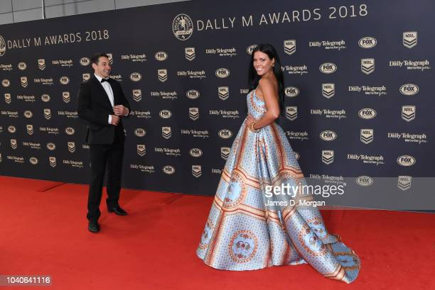 Billy Slater and his wife Nicole Slater attend the 2018 Dally M Awards on September 26, 2018 in Sydney, Australia.