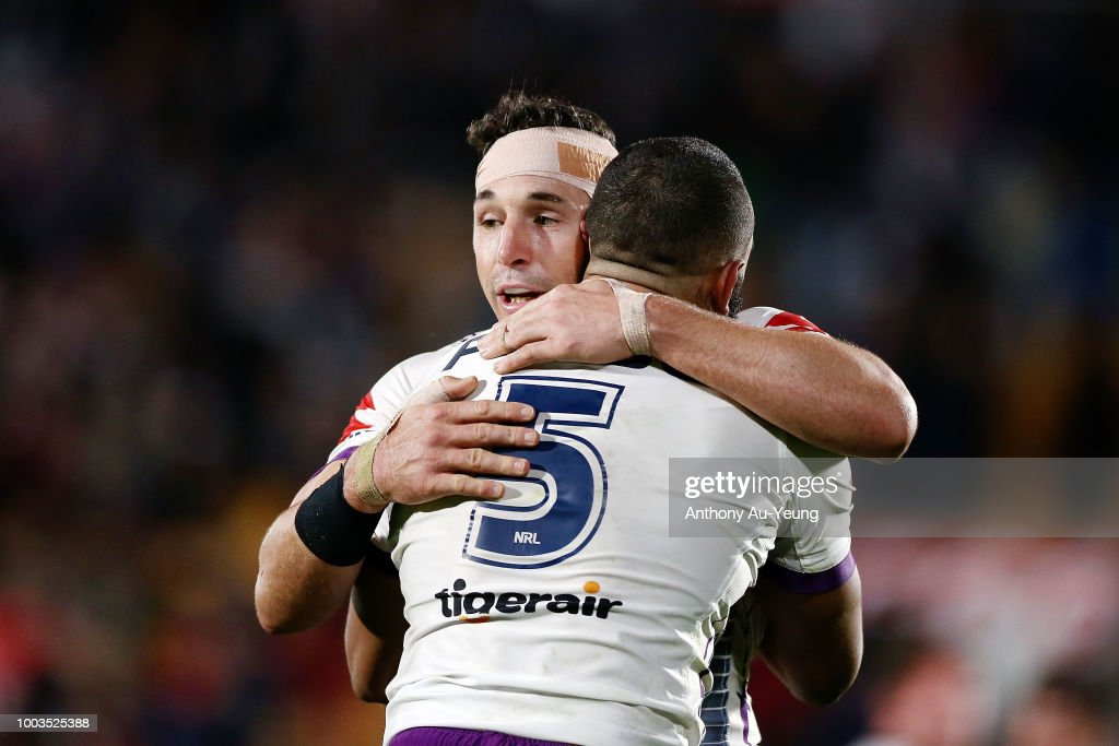 Billy Slater and Josh Addo-Carr of the Storm celebrate after winning the round 19 NRL match between the New Zealand Warriors and the Melbourne Storm at Mt Smart Stadium on July 22, 2018 in Auckland, New Zealand.