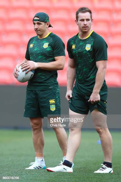 Billy Slater and Michael Morgan during an Australian Kangaroos Rugby League World Cup training session at Suncorp Stadium on October 11 2017 in...