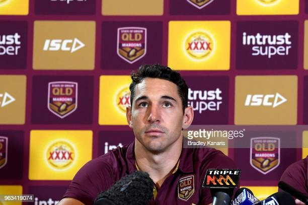 Billy Slater announces that he will retire from representative Rugby League at the end of this Origin series during a Queensland Maroons State of...
