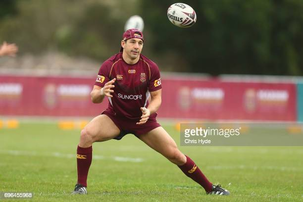 Billy Slater catches during a Queensland Maroons State of Origin training session at Intercontinental Sanctuary Cove Resort on June 16 2017 in...