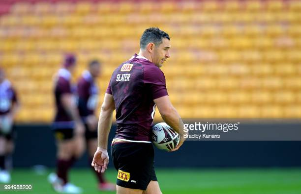 Billy Slater during the Queensland Maroons State of Origin Captain's Run at Suncorp Stadium on July 10 2018 in Brisbane Australia