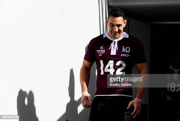 Billy Slater enters the field of play during the Queensland Maroons State of Origin Captain's Run at Suncorp Stadium on July 10 2018 in Brisbane...
