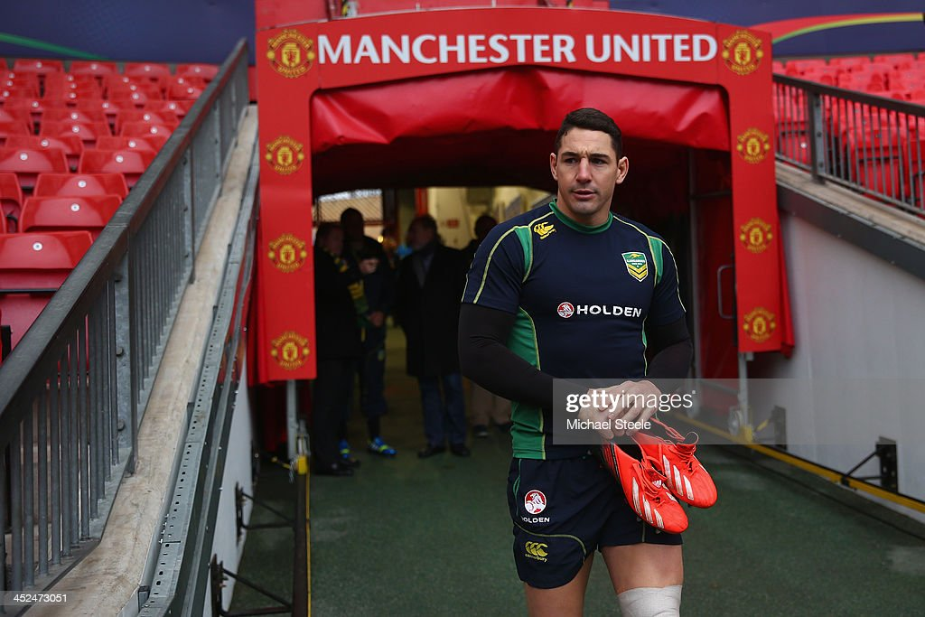 Billy Slater enters the stadium from the players tunnel during the Australia training session at Old Trafford on November 29, 2013 in Manchester, England.