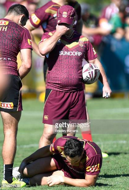Billy Slater goes down injured during a Queensland Maroons State of Origin training session at Sanctuary Cove on July 9 2017 in Brisbane Australia