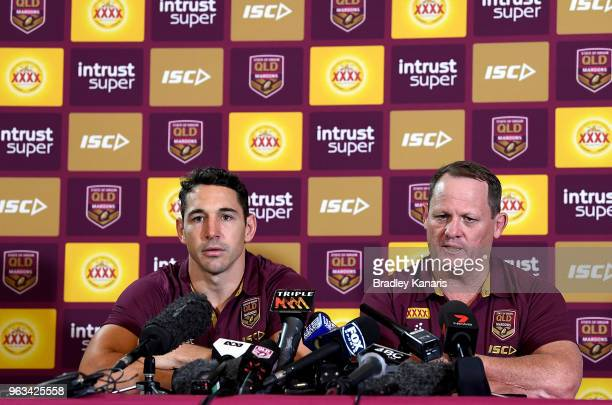 Billy Slater is seen alongside Coach Kevin Walters as he announces that he will retire from representative Rugby League at the end of this Origin...