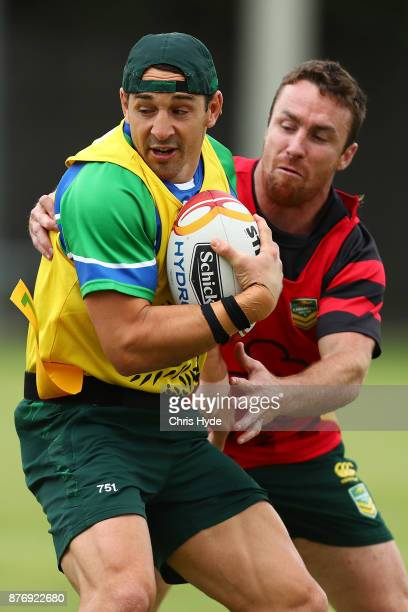 Billy Slater is tackled by James Maloney during an Australian Kangaroos Rugby League World Cup training session at Langlands Park on November 21 2017...