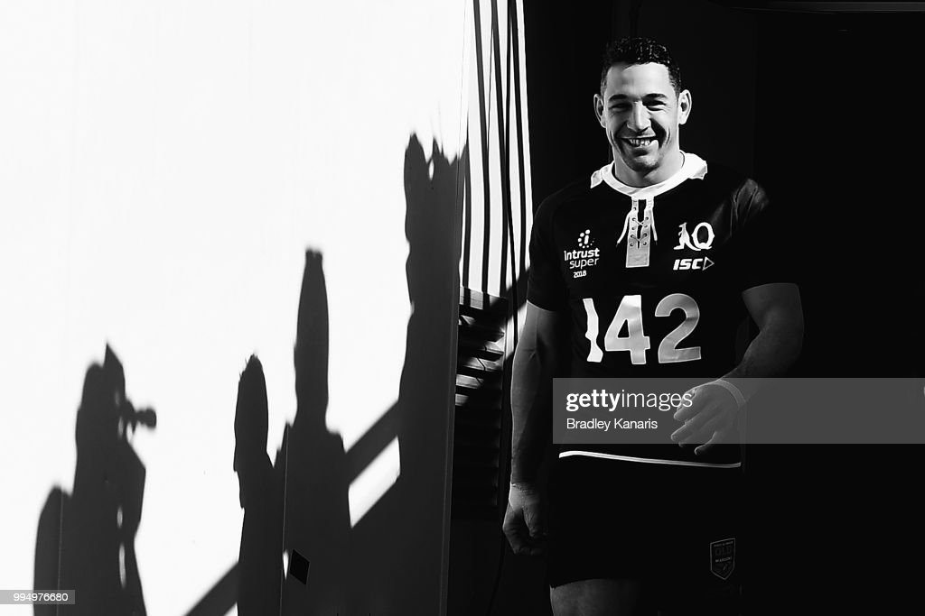 Billy Slater leads his team onto the field of play during the Queensland Maroons State of Origin Captain's Run at Suncorp Stadium on July 10, 2018 in Brisbane, Australia.