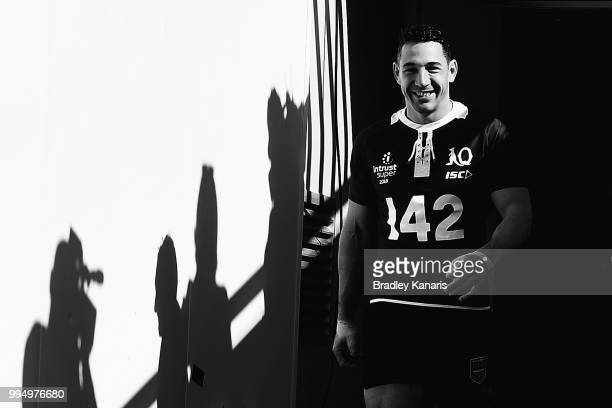 Billy Slater leads his team onto the field of play during the Queensland Maroons State of Origin Captain's Run at Suncorp Stadium on July 10 2018 in...